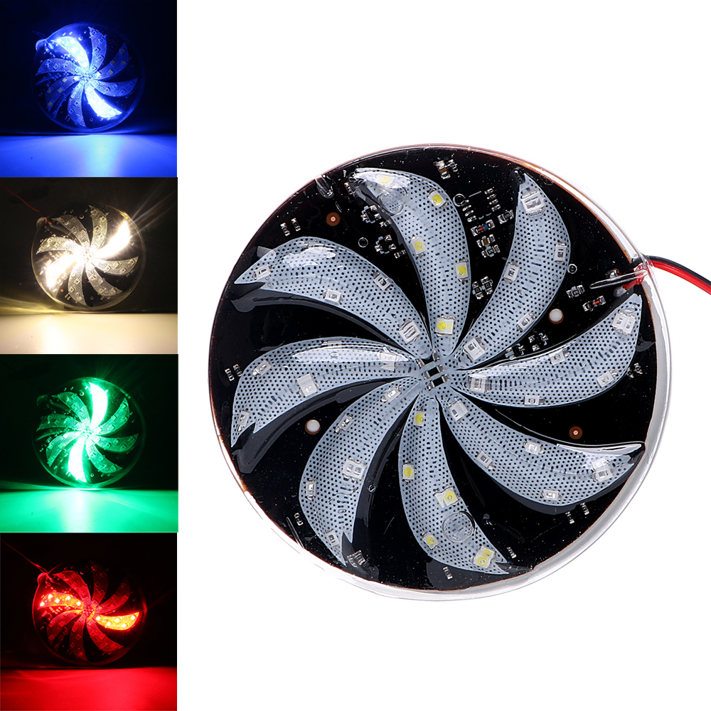 1 Paia Led Luce Stroboscopica Mulino A Vento Luci Multi-segnale Di Colore Rotondo Nebbia Flash Lampada Rimorchio Spia 12 V Collegamento Adesivo