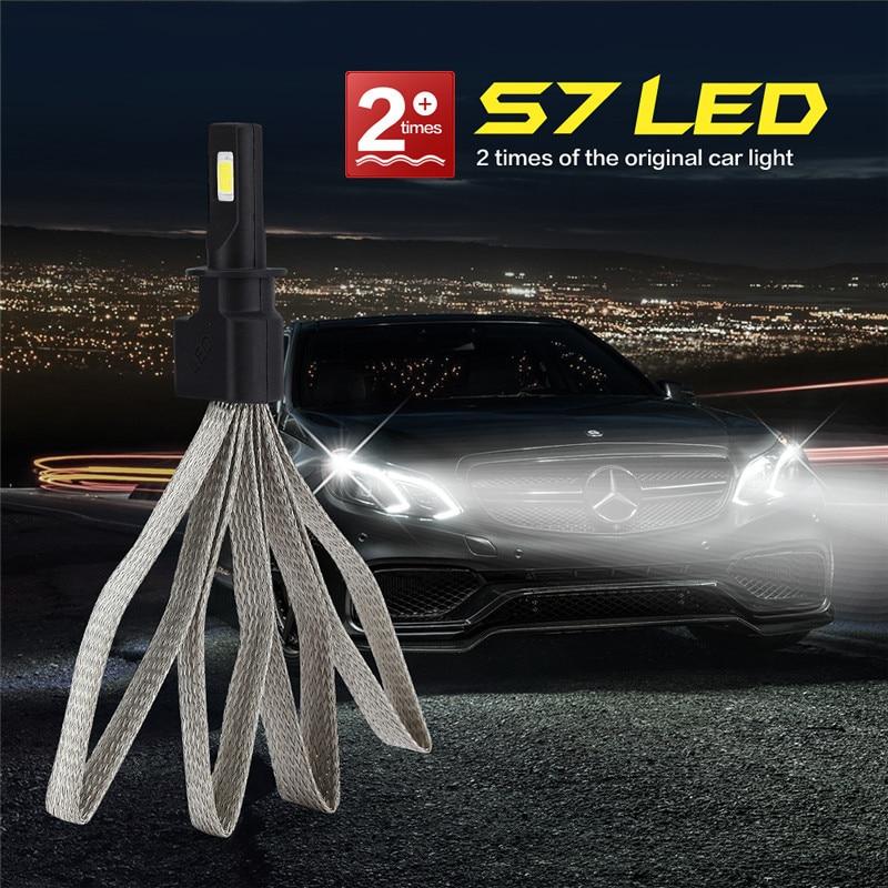 Super Bright Car S7 Fog Lights H7 9005 9006 9007 H11 HB3 HB4 h4 LED Headlights Bulbs for Auto Cars HID 6000K 72W Work Light