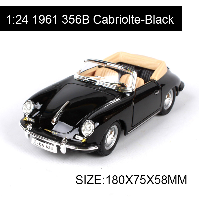 Bburago 1:24 Diecast Model 1961 356B Coupe Cabriolte Alloy Car Metal Toys gift modified car simulation model For Collection bburago 1 18 458 alloy supercar model favorites model