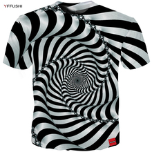 YFFUSHI 2018 maschio 3d maglietta a maniche corte a righe Unique visione 3D Swirl Line Estate Cool T shirt allentato Hip Hop Tees Plus Size