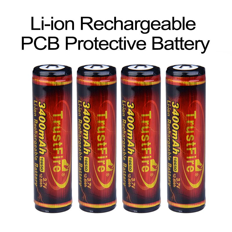 все цены на 4pcs TrustFire New Protected Original Rechargeable Battery 3400mAh with PCB 3.7V 18650
