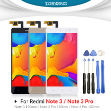 AAA 150mm Lcd For Xiaomi Redmi Note 3 Pro Display Digitizer Touch Screen For Redmi Note 3 152mm Lcd Display With Frame + Tools for xiaomi redmi note 3 note 3 pro 150mm original new black gold white lcd display touch screen digitizer frame bezel parts