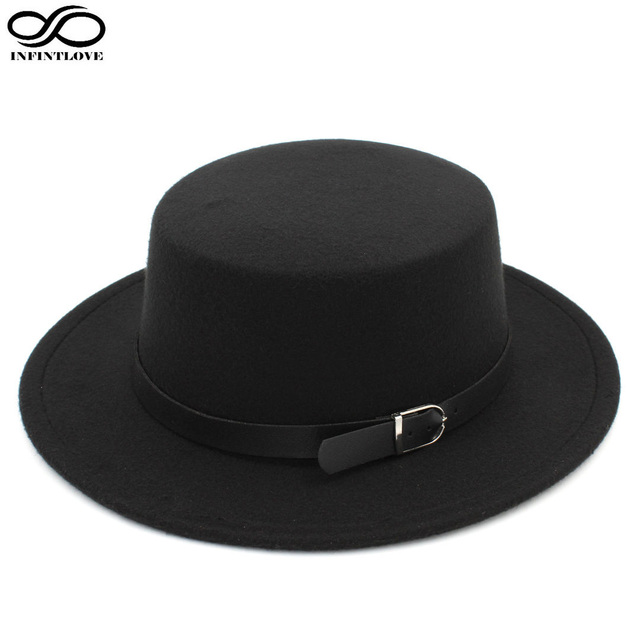 ce07bb69b98 LUCKYLIANJI Women s Wool Felt Boater Dome Oval Flat Top Bowler Porkpie Hat  Belt Buckle (One