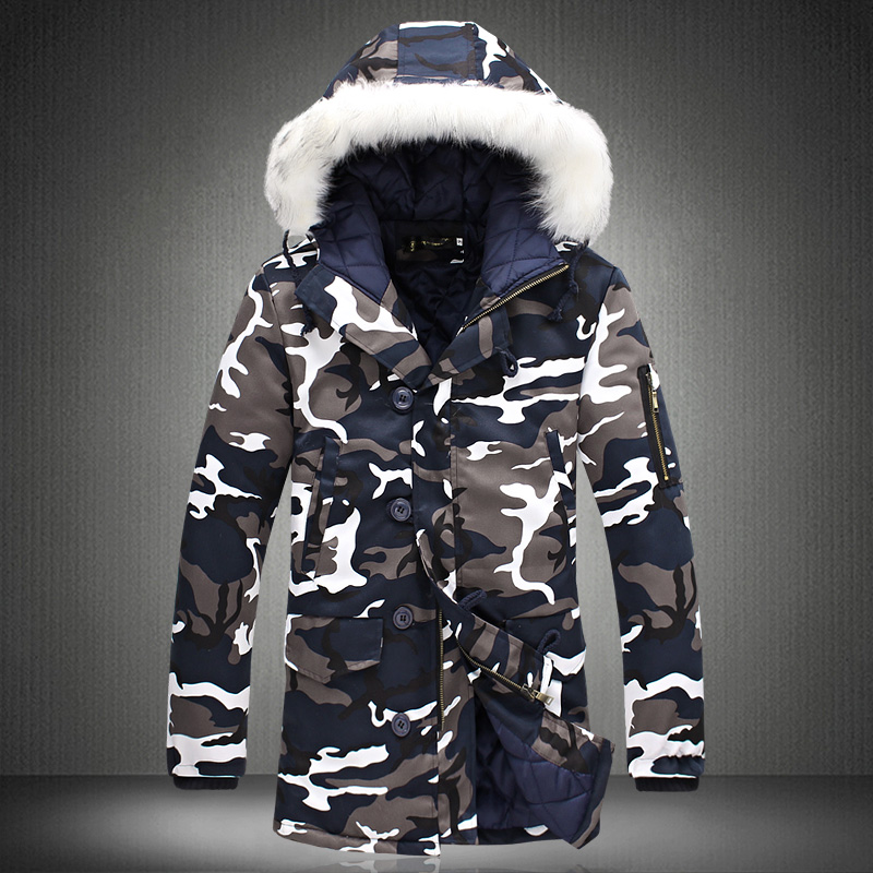 brand clothing Sale 2017 Fashion Camouflage Parkas Men Military Medium long Winter Coat Thickening Cotton padded