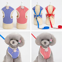 New Mesh Pet Puppy Dog Cat Harness Leash Set Pearl Cute Lace Vest for Small Medium Dogs Stripe Chihuahua Pets Collar