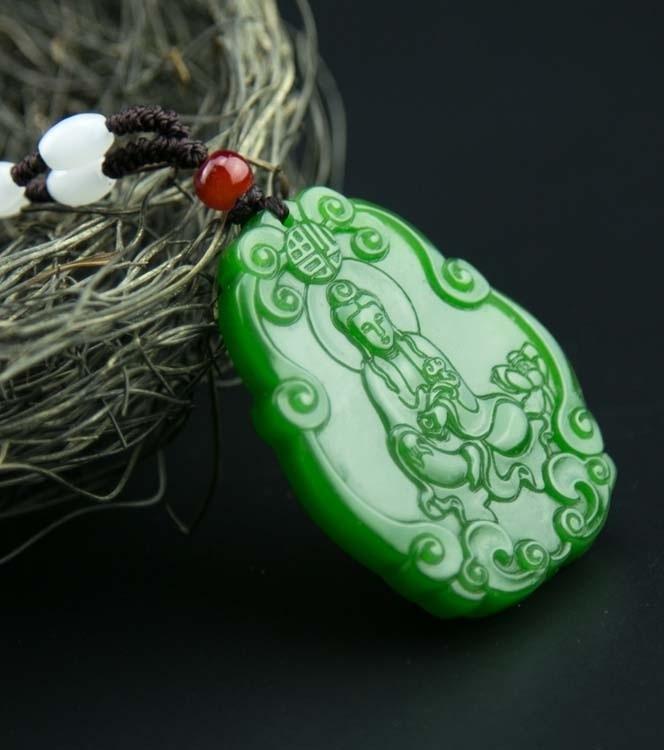 Herrenschuhe Xinjiang Hetian Jasper Lotus Guanyin Marke Halskette Anhänger