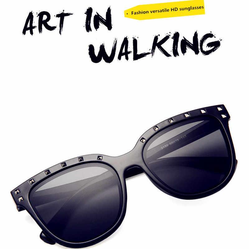 GUANGDU 2019 New Fashion Colorful Diamond Large Frame Goggle Okulary Sunglasses Women's Luxury Brand Colorful Simple Glasses