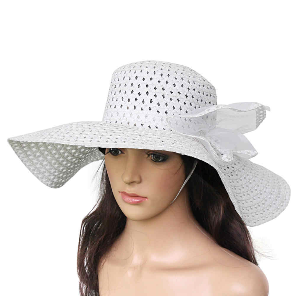 e1bfe01a Detail Feedback Questions about Vogue Women Wide Large Brim Floppy Fold  Summer Beach Sun Straw Derby Hat White Summer Outdoor Beach Caps on  Aliexpress.com ...