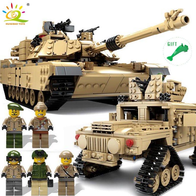 HUIQIBAO TOYS 1463+PCS Military M1A2 Abrams Tank Cannon Deformation Hummer Cars Building Blocks Compatible Legoe For Children new century military m1a2 abrams tank cannon deformation hummer cars building blocks bricks figures toys for children