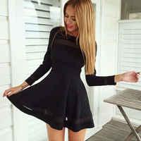 2015 mujeres una línea de manga larga de fiesta mini Vestido corto de talla grande negro mujeres Vestido de gran tamaño Vestido de fiesta otoño