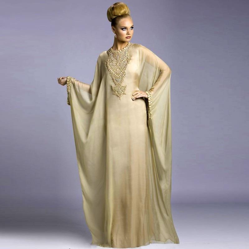 Modern Arabic Evening Dress Long Sleeve Moroccan Fashion