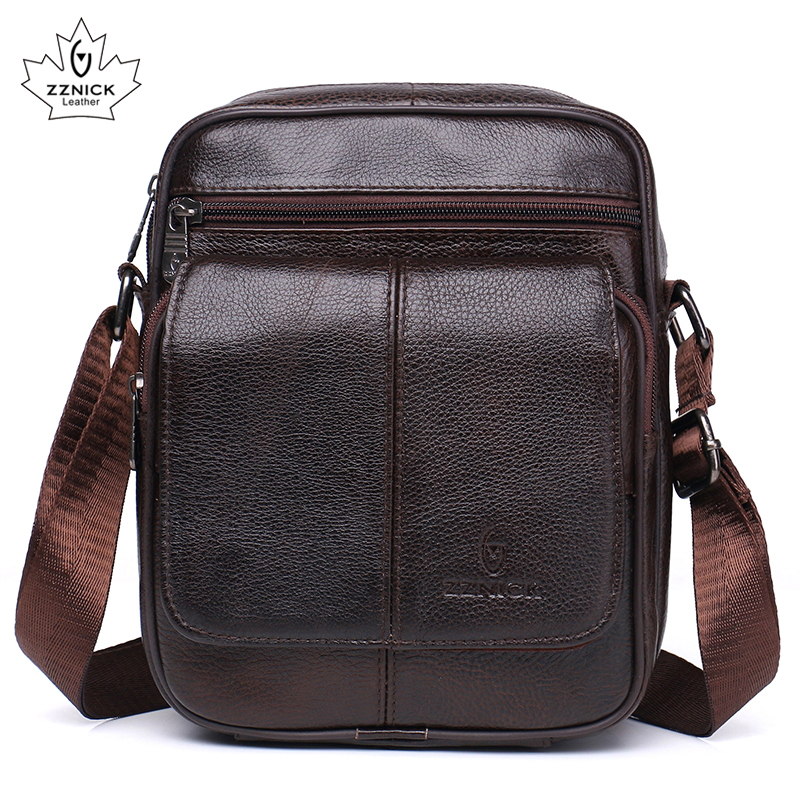 Genuine Leather Men Bag Flap Cow Leather Shoulder Bags Flap Pocket Crossbody Bags Fashion Soft Zipper Men Male Bag ZZNICK