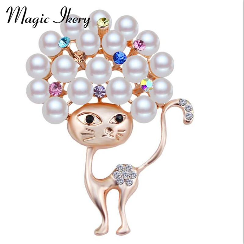 Magic Ikery Fashion Imitation Pearls Cute Little Cat Brooches Pin Jewelry For Women Suit Hats Clips Corsages JDD-B479