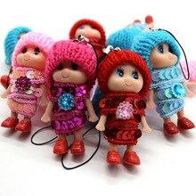 Subcluster 10 Pcs/Set Baby Doll Knit Hat Charm Phone Car Bag Paillette Dress