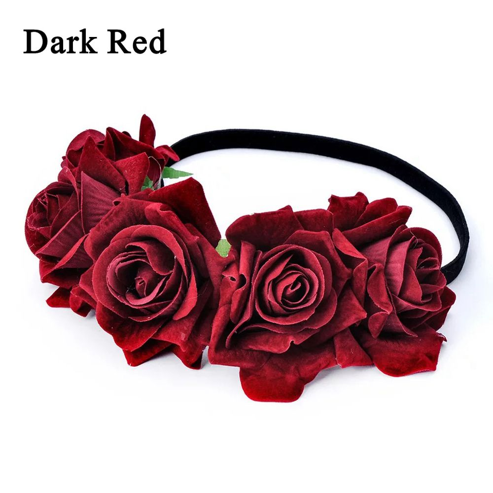 Okdeals 1PC Fashion Bohemia Style Rose Flower Headbands Floral Crown Hairband Wedding Hair Garland Bridal Girls Hair Acessories 3