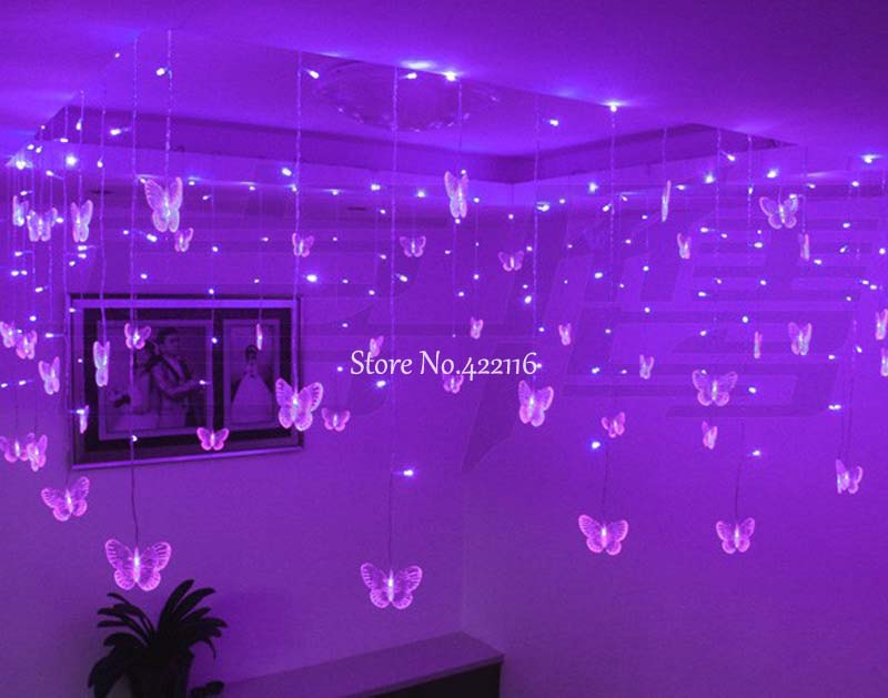 Blue LED Curtain LIGHTs Butterfly Holiday Lighting Garland Wedding Party Decoration 3.5m 100 SMDs 110V/220V EU/US Plug