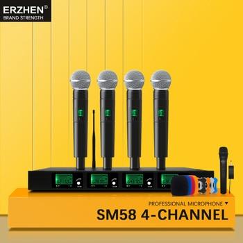 Profesional Mikrofon Nirkabel UHF Quad Channel Nirkabel Handheld Kerah Headphone Headset Konferensi Mikrofon KTV SM58