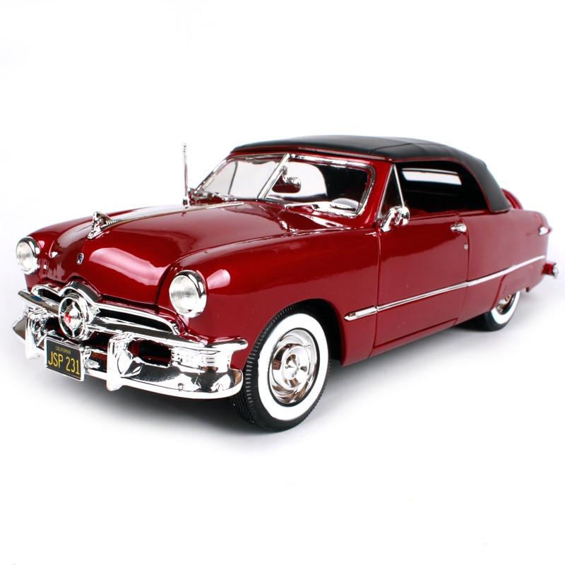 Maisto 1:18 1950 ford redwine brun voiture moulé sous pression 285*100*88mm luxe vintage voiture modèle portes ouvertes motorcar forme collection 31681