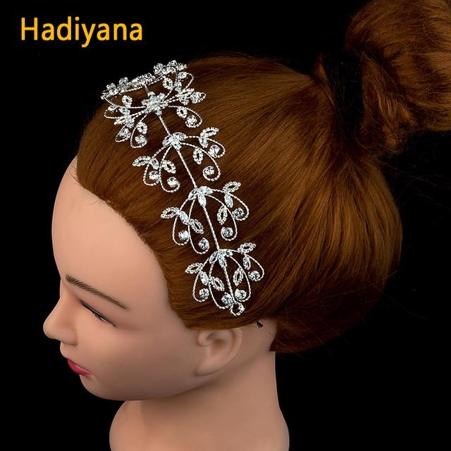 Hadiyana de moda CZ de plata nupcial Tiaras boda coronas de circón de lujo hecho a mano de la boda de la joyería accesorios mujeres sombreros BC4697