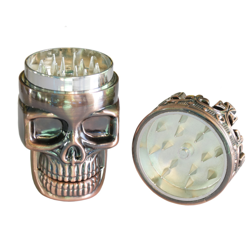 1PC Creative King Skull Herb Grinder 3 Parts Cigarette Rolling Tool - Household Merchandises - Photo 4