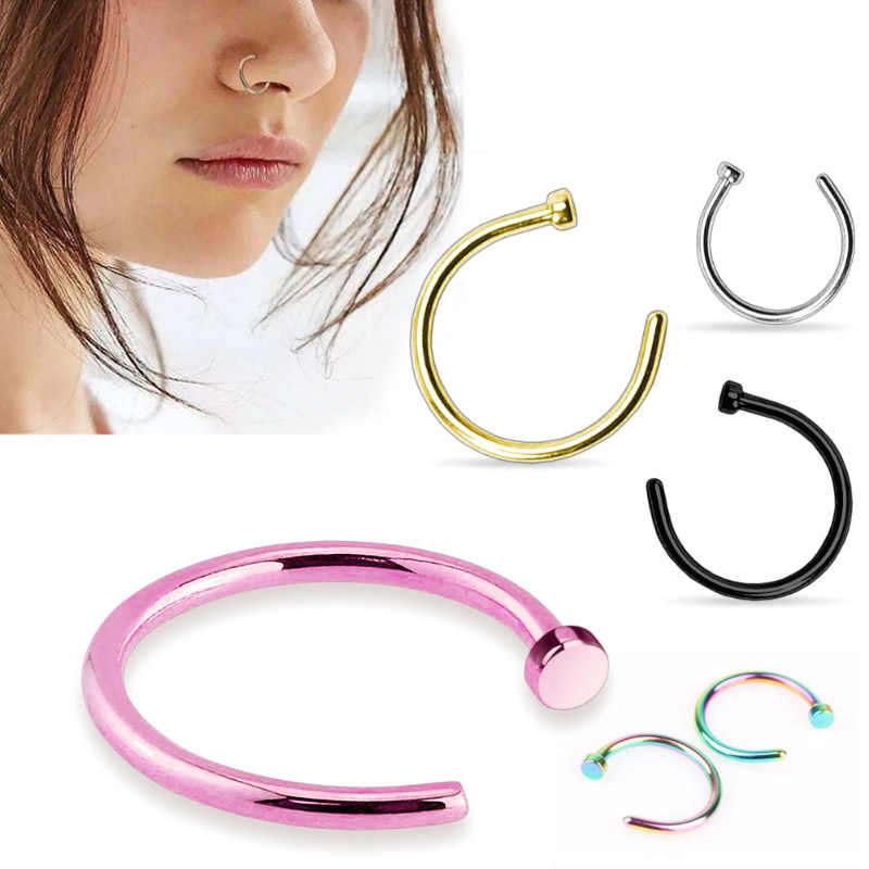 2Pcs/bag Hot Fake Clip On 6 10 mm Surgical Steel Open Nose Ring Thin Small Hoop Nose Piercing Studs Ring For Women Girls