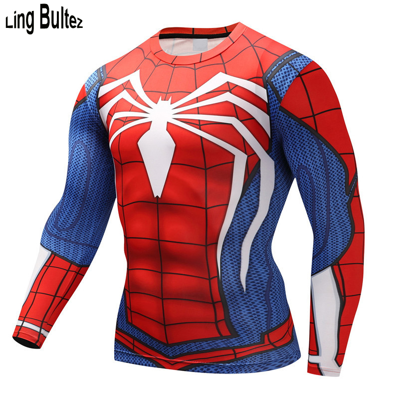 Ling Bultez Spiderman Tshirt 3D Bodybuilding Top Hot Sale Long Sleeve Men T-Shirt Superhero Men Fitness Compression Shirt Tights