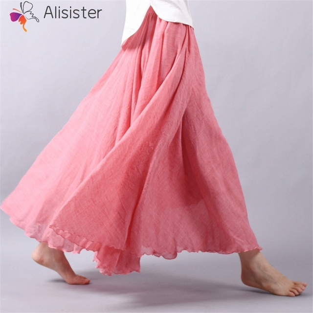 9e3aadc16 2019 Women Linen Cotton Long Skirts Summer Elastic Waist Solid Pleated Maxi  Skirt Mori Girl Boho Vintage Beach Skirt Faldas Saia