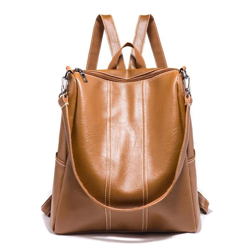 New Backpack Leather Women Backpacks Fashion School Bag Multifunctional PU Leather Back Pack Simple Design Shoulder Bag