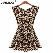 CUHAKCI Print Dress Women Summer Dresses Leopard Vestido Plu