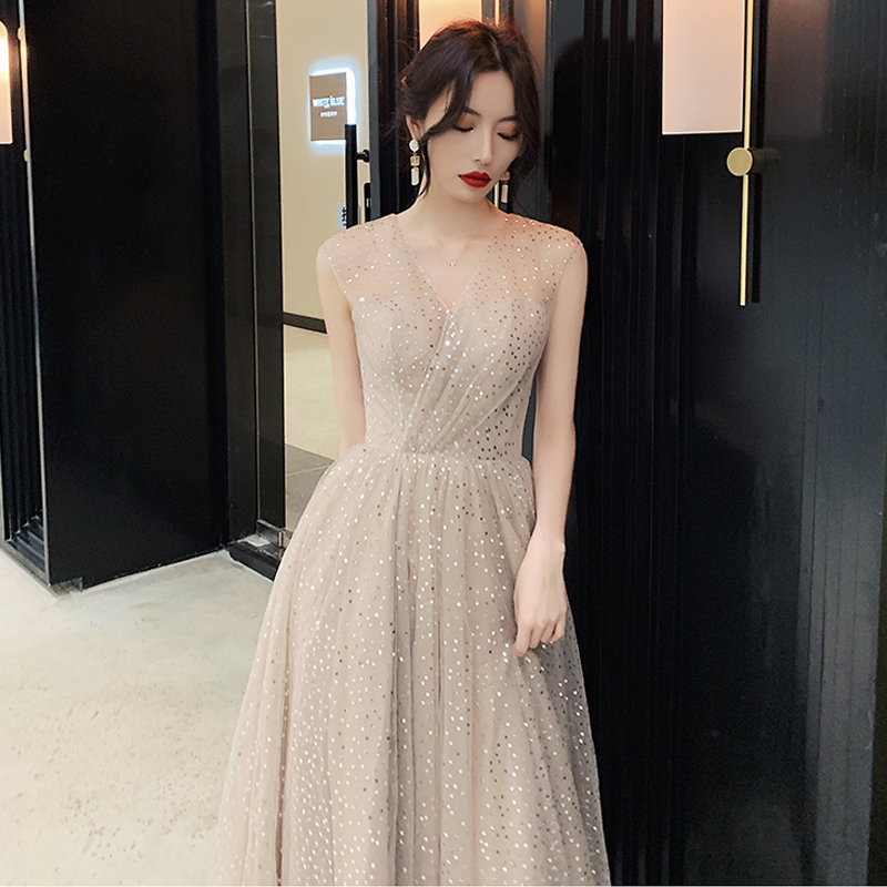 Prom Dress V neck Vestidos De Gala Sequin Elegant Women Party Night Dresses 2019 Plus Size Sleeveless Zipper Prom Gowns E723 in Prom Dresses from Weddings Events