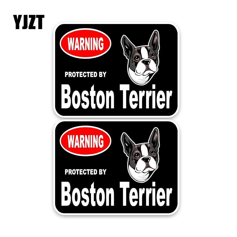 YJZT 15*11.4CM  2X Boston Terrier Guard Dog Car Bumper Window Sticker Decal C1-4325