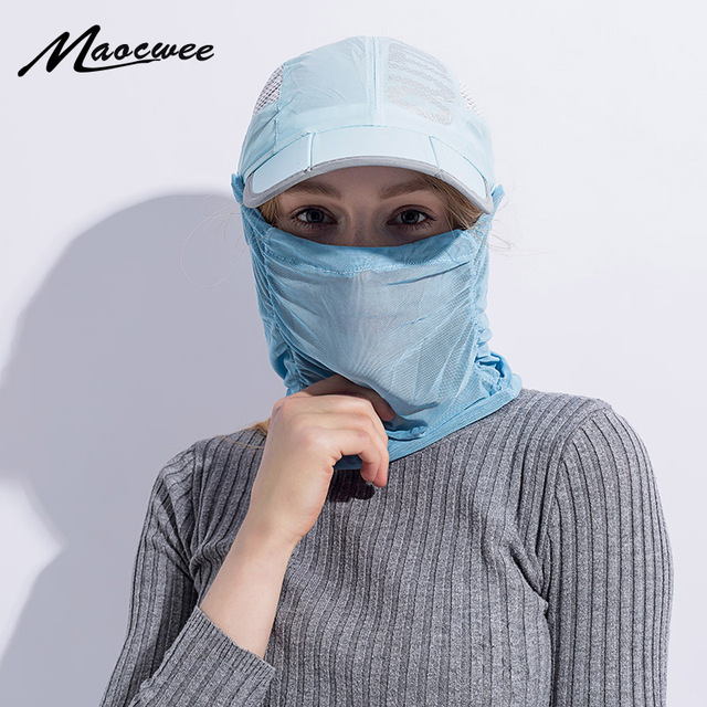 Summer Outdoor Sport Hiking Camping Visor Sun Hat UV Protection Face Neck  Cover Fishing Sun Protcet Cap Women Mask Accessories 372102f061ef