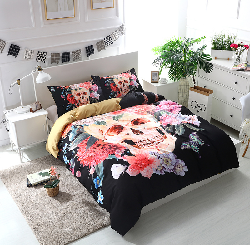 Watercolor Flower Skull Head Bedding Comforter Bedding Sets Printing and Dyeing 2/3Pcs Suit Bedclothes US SizeWatercolor Flower Skull Head Bedding Comforter Bedding Sets Printing and Dyeing 2/3Pcs Suit Bedclothes US Size