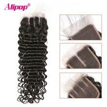 עמוק גל סגירה ברזילאי שיער 4x4 תחרה סגר שיער טבעי סגירת 10 20 22 24 סנטימטרים סגירת משלוח התיכון 3 חלק רמי שיער