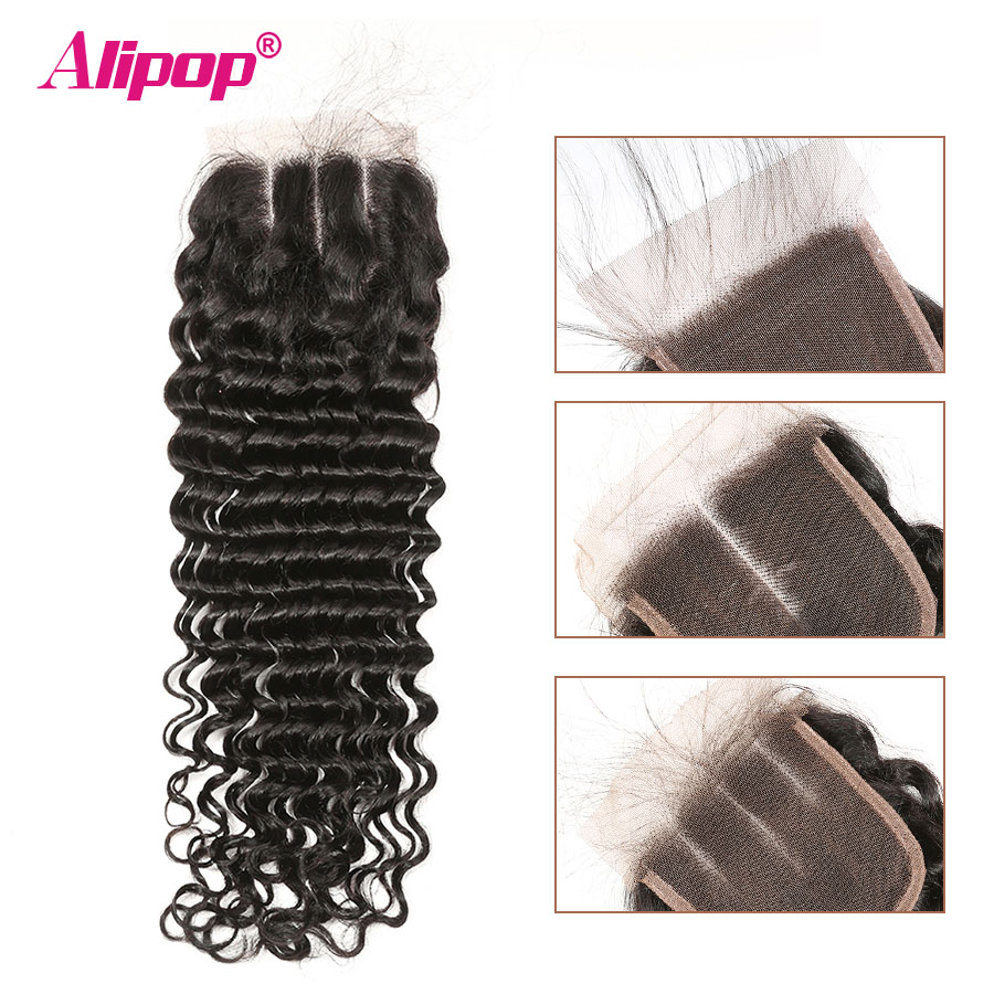 Deep Wave Closure Brazilian Hair  4x4 Lace Closure Human Hair Closure 10-20 22 24 Inches Closure Free Middle 3 Part Remy Hair