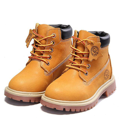 جديد جودة عالية جلد طبيعي صبي فتاة الأحذية 21-37 الخريف الأصفر مارتن الأحذية للبنين أفخم الدافئة الشتاء أحذية للفتيات الاطفال