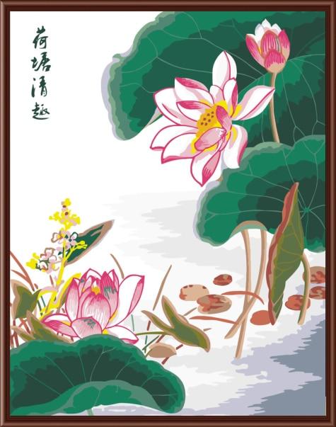 Chinese lotus poem art painting by numbers home decor drawing on chinese lotus poem art painting by numbers home decor drawing on canvas acrylic flower digital oil mightylinksfo