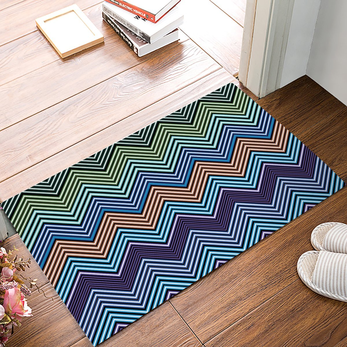 Colorful Repeat Arrangement of Stripes Pattern Bathroom Doormat Carpet Indoor Mat Anti Skid Shag Shaggy Bath Shower Mats