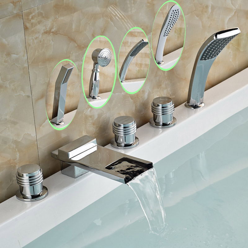 Deck Mounted Bathroom Widespread Long Waterfall Spout Tub Mixer Faucet Bath Tub 5pcs Faucet Set with Handshower цена