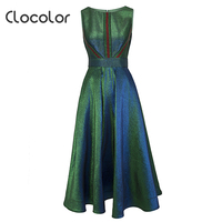 Clocolor New Christmas Vintage Women Dress Sleeveless High Waist Party Dress Luxury A Line Autumn Winter