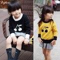 2017 Menino Outono Inverno Bebê Menina Bonito Cereja Camisola Europeu para Crianças Menino Quente Camisola Da Criança Do Bebê Crianças Blusas de malha T691