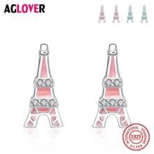 925 Silver Stud Earring Eiffel Tower Women Jewelry 100% Sterling AAA Crystal Cubic Zircon Earrings