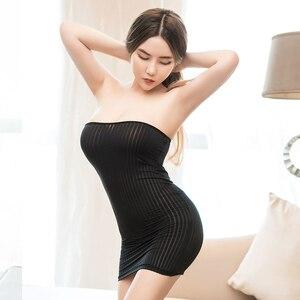 Женское платье без воротника, сексуальное платье в полоску для косплея, одежда для ночного клуба, 1 шт., Y0280