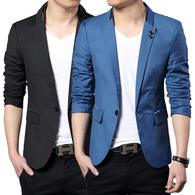 Printemps 2017 Mode Bleu Silm Fit Élégant Blazer Hommes Britannique Bureau  Classique Costumes Hommes Blazer Veste