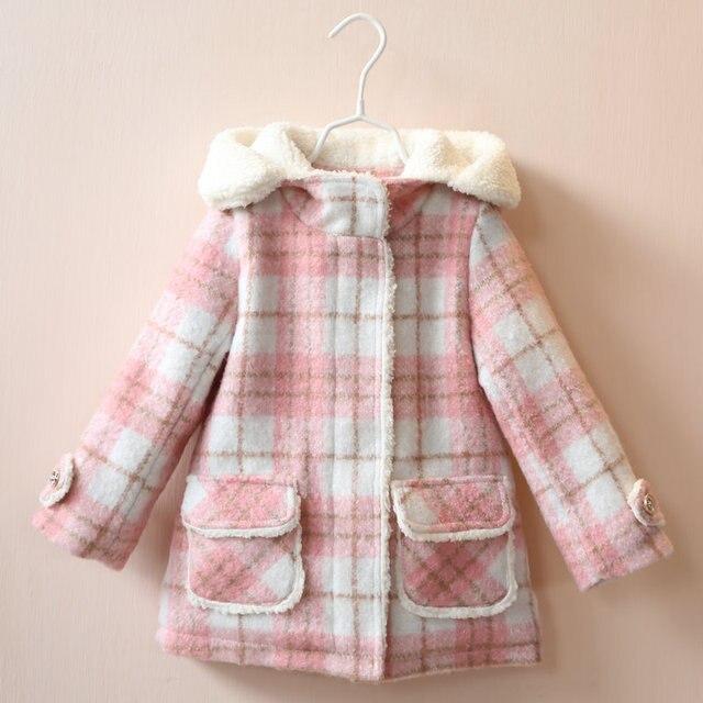 5559b171b High Quality Fancy Baby Girls Coat Hooded Fleeced Kids Winter Woolen ...