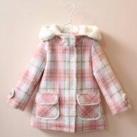 High Quality Fancy Baby Girls Coat Hooded Fleeced Kids Winter Woolen Jacket Pink Plaid Toddler Girls 2016 Brand New Outerwear