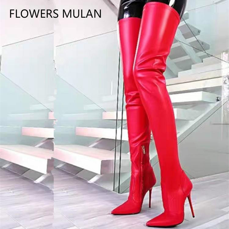 Luxury Shoes Women Red Leather Thigh High Ladies Booties Pointed Toe High Heels Gladiators Side Zipper Fashion Show Shoes RunwayLuxury Shoes Women Red Leather Thigh High Ladies Booties Pointed Toe High Heels Gladiators Side Zipper Fashion Show Shoes Runway