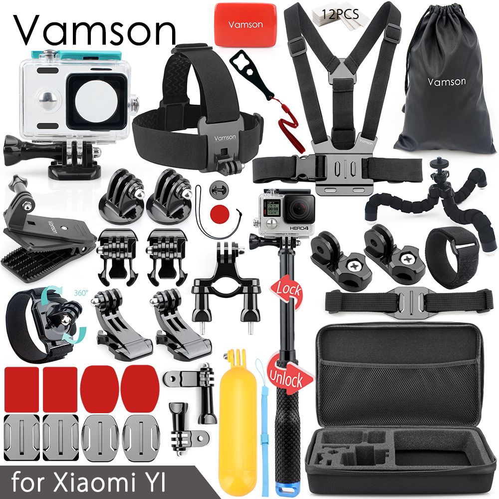 Vamson Accessories Set for xiaomi yi 1 for xiaom yi 2 4k Collection Box Head Chest Strap Mount Waterproof Case VS91 цена