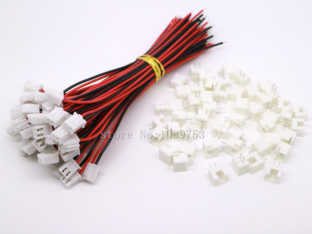 100 SETS JST XH 2.5-2 Pin Battery Connector Plug Female & Male with 100MM Wire 50pcs 25pairs 2 pin jst 100mm pitch 2 54mm male and female wire connector plug cable for diy rc battry model