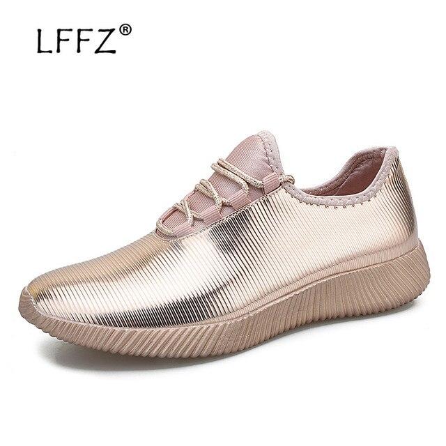 LFFZ Super Fashion Sneakers Women Gold Sequin Flat Shoes Women 2019 New Running Sneakers 39-41 Comfortable Female Casual Shoes